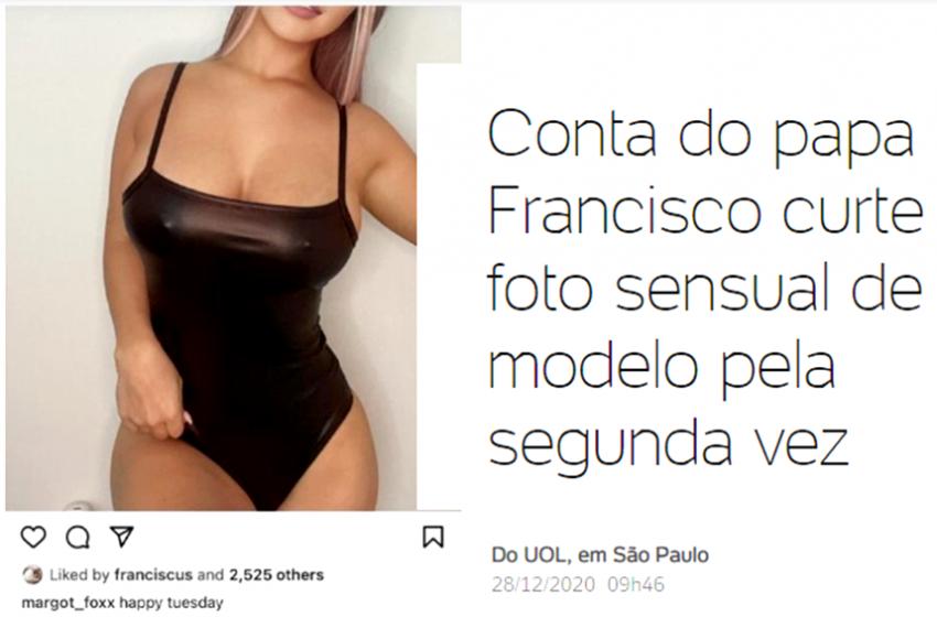 Conta do Papa Francisco curte foto sensual de modelo pela segunda vez