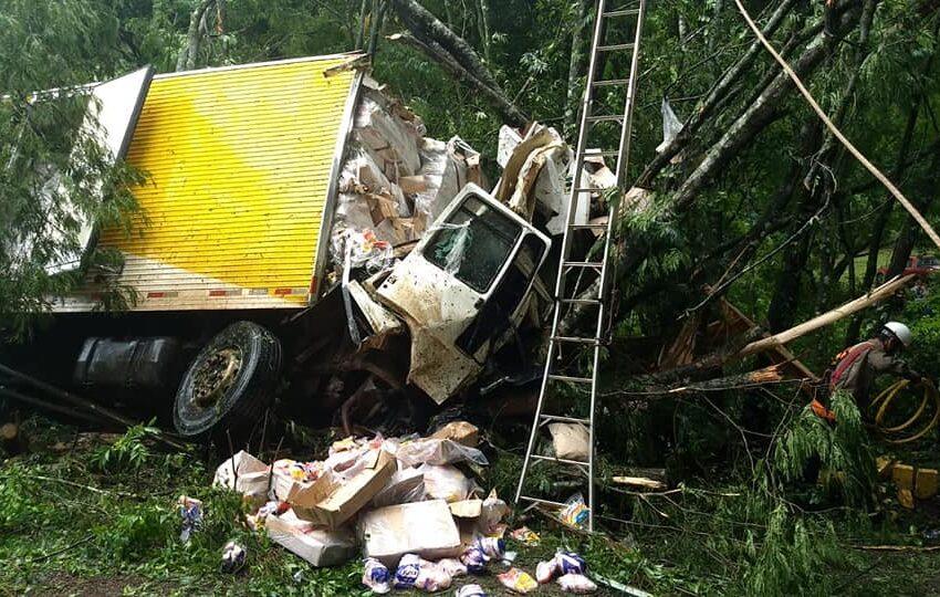 Curiosos tentam tumultuar em acidente com caminhão de frangos entre Palmital e Marquinho
