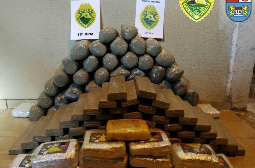 Mais de 85 quilos de maconha foram apreendidos e veículo recuperado pela Polícia Militar em Manoel Ribas
