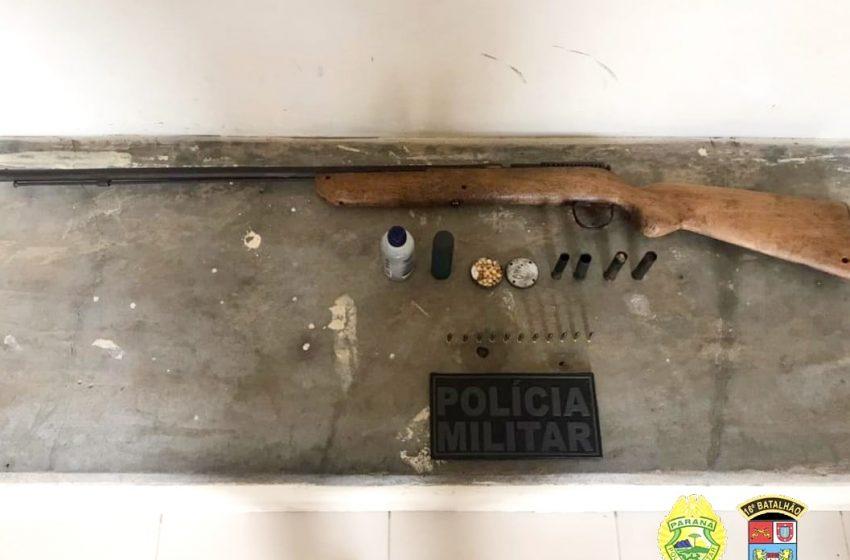 Preso em Campina do Simão, homem com arma e munições que foram apreendidas