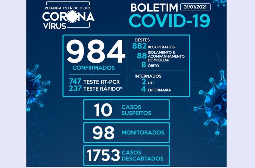 Com mais oito registrados nas últimas horas, Pitanga se aproxima dos 1.000 casos da Covid-19, chegando a 984
