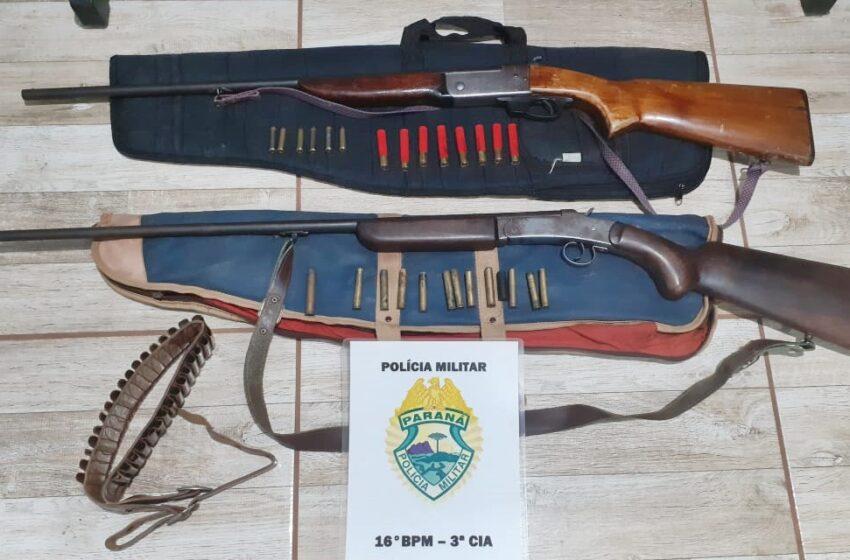 Preso no interior de Santa Maria do Oeste, com armas de fogo que praticava caça ilegal