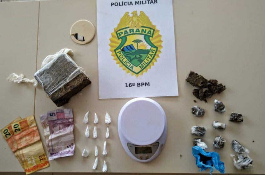 Mulher de 21 anos é presa em flagrante por tráfico de drogas em Manoel Ribas. Droga, dinheiro e celular foram apreendidos