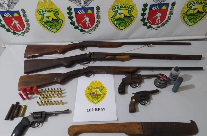 16° BPM apreende diversas armas de fogo durante o final de semana