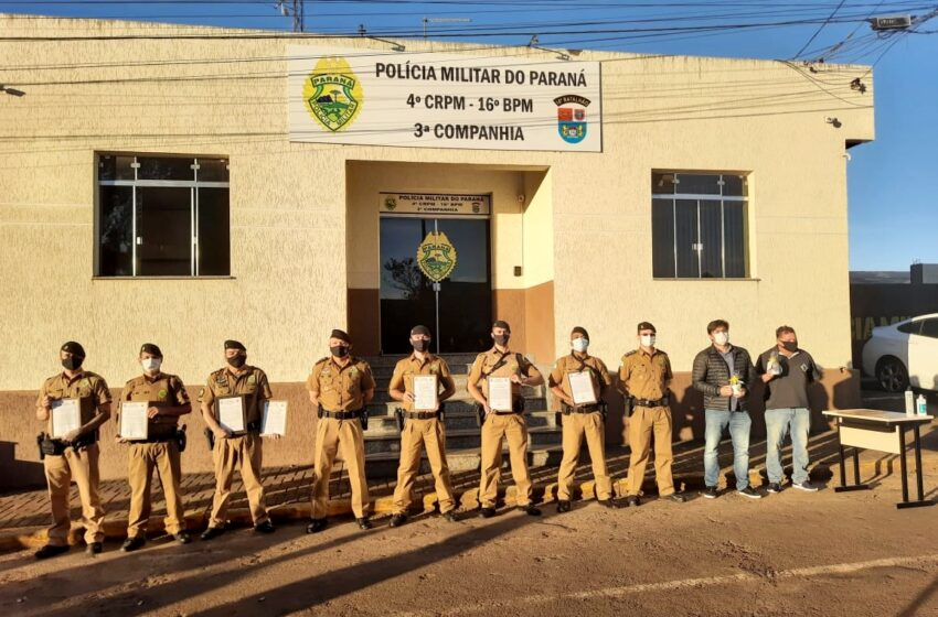 16º BPM realiza homenagem à policiais da 3ª Cia de Pitanga que se destacaram no serviço policial