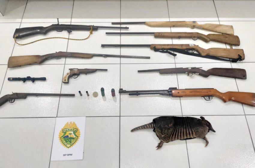 Preso em Candói – Homem de 33 anos com nove armas e um tatú abatido