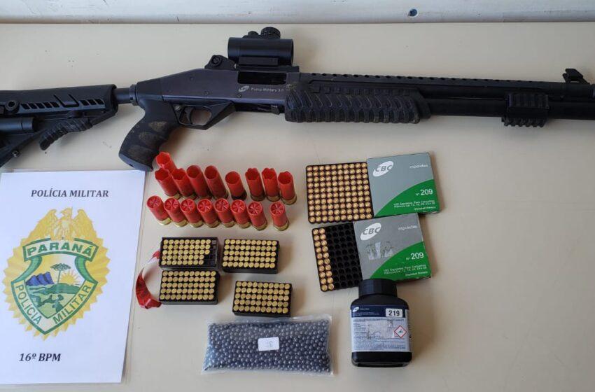 Armas e munições foram apreendidas pela PM no interior de Santa Maria do Oeste