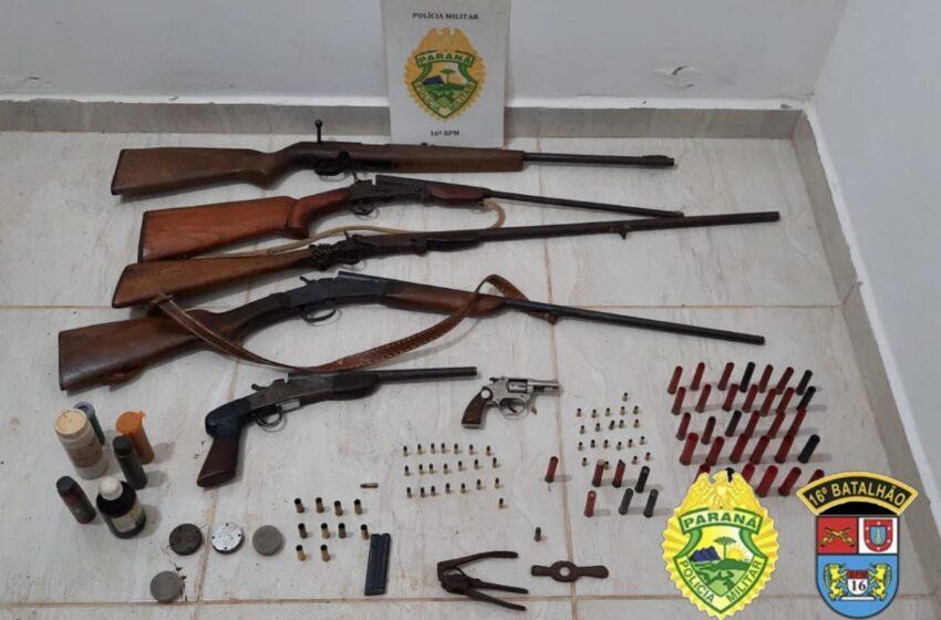 Seis armas de fogo ilegais foram apreendidas pela Polícia Militar de Pitanga