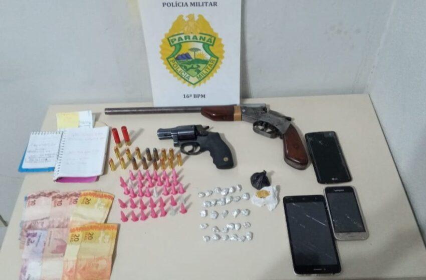 Três presos e uma menor apreendida em Pitanga, por tráfico, associação ao tráfico de drogas, corrupção de menor e posse irregular de arma de fogo