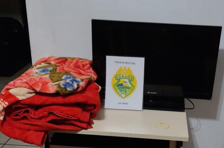 Ladrões foram parar na Delegacia de Pitanga no início da madrugada, após furto de TV e Cobertor