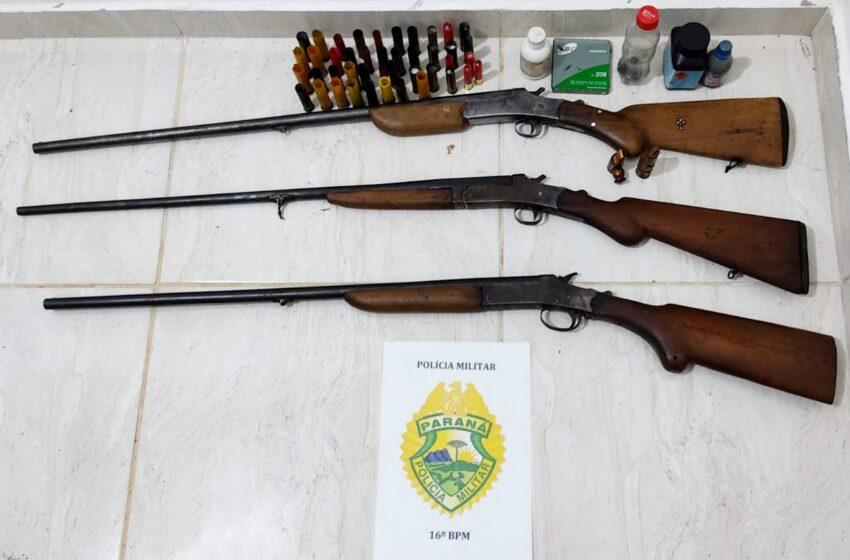 Três espingardas e munições foram apreendidas com tio e sobrinho que praticavam caça ilegal no interior de Pitanga