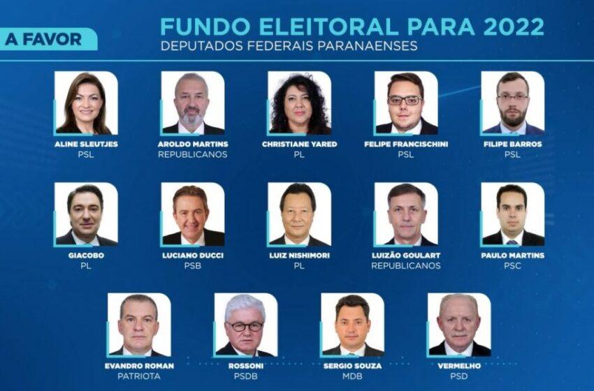 """Dos 30 Deputados do Paraná, 14 votaram pela aprovação do """"FUNDÃO ELEITORAL"""""""