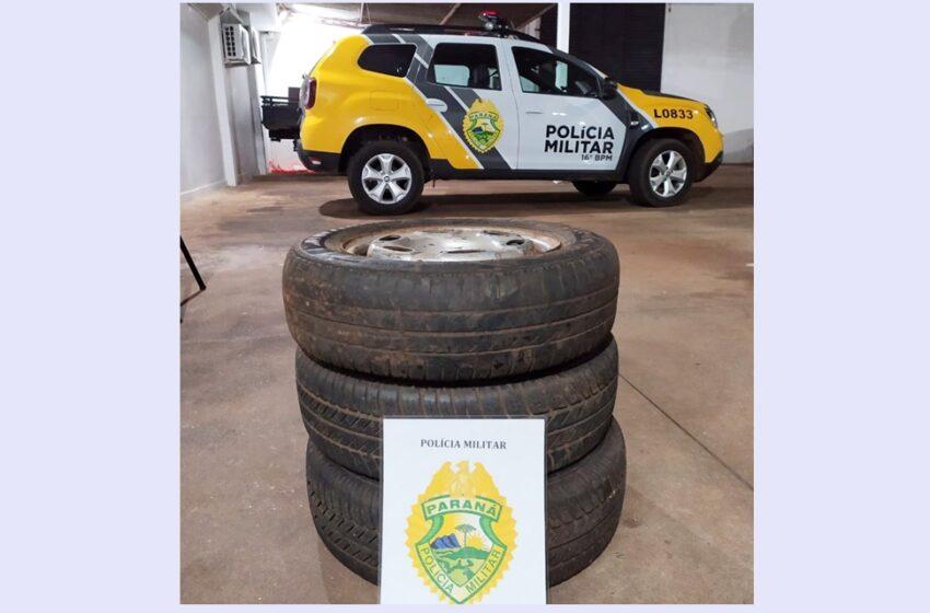 Conduzidos para Delegacia de Pitanga, autores de furto de rodas com pneus, e o receptador
